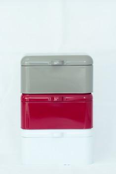 Brotkasten / Aufbewahrungskasten Emaille weiß Nostalgie