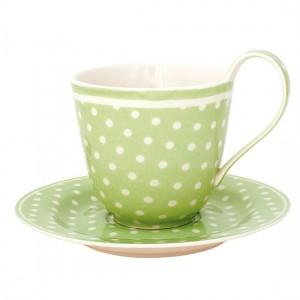 Greengate Kaffeetasse mit Unterteller 2tlg. Spot green