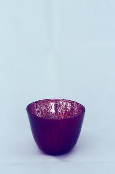 Blumen - Glastopf / Windlicht rot Ø 14,2 cm
