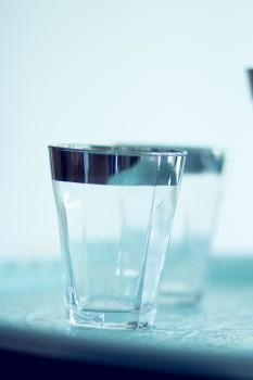GreenGate Wasser/Saftglas mit Silberrand