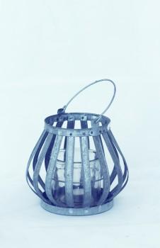 Windlicht zink mit Glaseinsatz